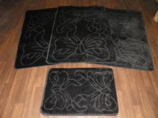ROMANY WASHABLES NEW GYPSY MATS SUPER THICK BOWS DESIGN FULL SET OF 4 BLACK MATS